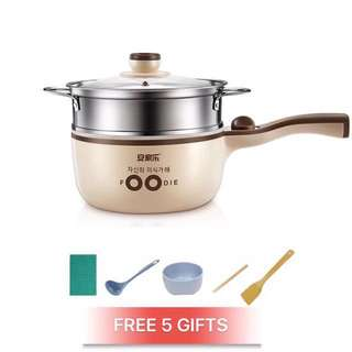 3 Colors All In One Mini Electric Cooker With Steamer Non Stick Pot