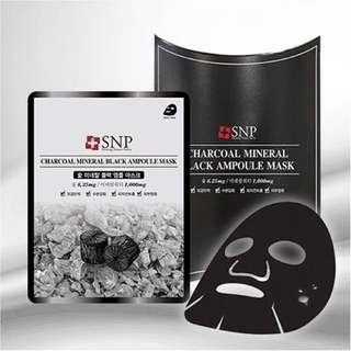 SNP Charcoal Mineral Black Ampoule Mask (10 sheets)