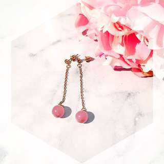Pink Pearl Gold Earring Drop