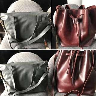 Buy 1 Take 1 Pravi Leather Sling Bag and Niqua Leather Bucket Bag