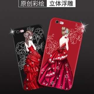 6s女款手機壳掛繩6Plus紅全包磨沙軟膠 (1套5件)