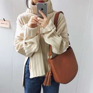 🚚 韓國chic坑條開岔高領寬鬆顯瘦針織毛衣/2色
