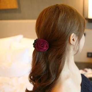 玫瑰花朵造型馬尾抓夾