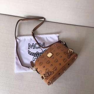 MCM Leather Cross Body Sling Bag Brown