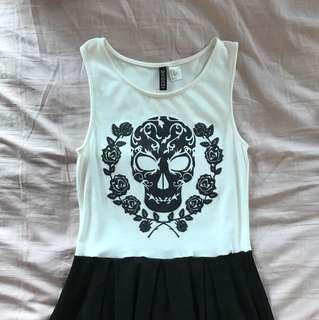 H&M Black & White Skull Skater Dress