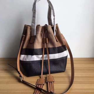 Burberry Leather Bucket Cross Body bag Brown With Black