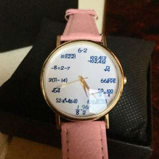 Math Equation Watch Pink Leather strap
