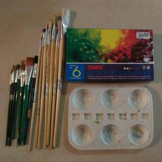 Acrylic paint, brushes and palette