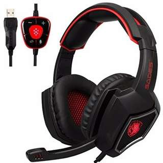 SADES 7.1 Surround Sound only USB Gaming Headset with mic (RED)