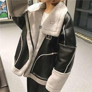 🚚 韓復古加厚保暖羊羔毛寬鬆機車皮衣外套