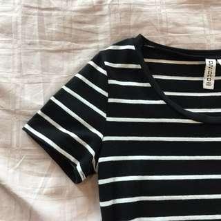 H&M Basic Black & White Stripes Top