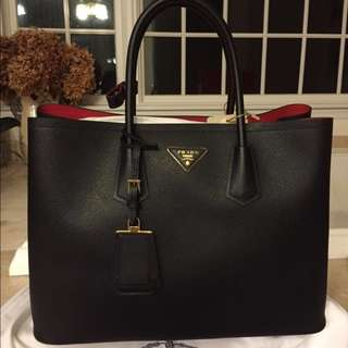 Genuine Prada Saffiano Cuir Double Bag