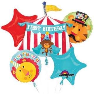 (NEW) 1st birthday party foli balloon set (5pcs)