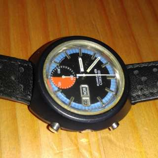 Vintage Retro Seiko 5 Sports Speed Timer 6139-8010 Black PVD Casing. Rare Collector Piece
