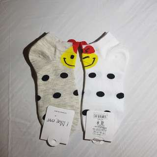 Smiley polka dots socks size 9-12