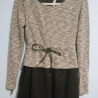 歐美灰黑撞色短裙