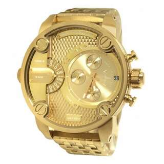 Diesel DZ7287 Little Daddy All Gold Two Time Zones Mid Size