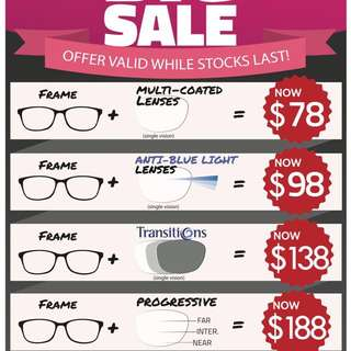 New Opening Promotion for Spectacles and Lens Package!