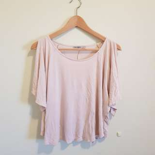 Flowy Beige Top with cut out shoulders