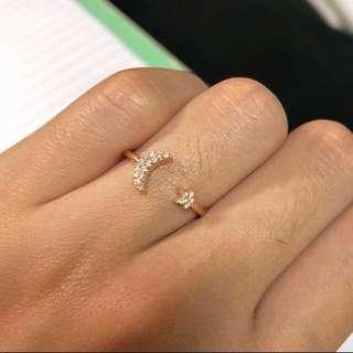 18K 星星月亮天然鑽石戒指