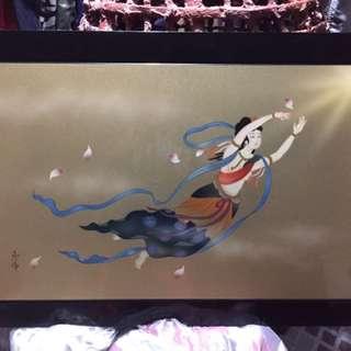 Vintage Asian lady goddess lucky 7 leaves Japan