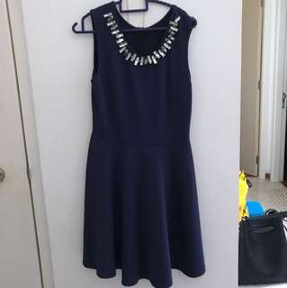 MDS Navy Blue Skater Dress for party or office