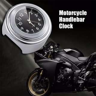 Universal Motorbike bicycle escooter ebike Handlebar Chrome Clock