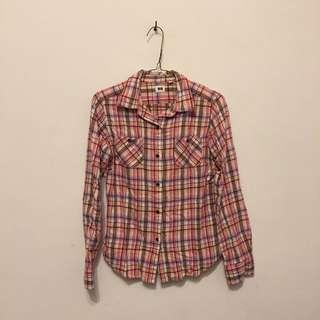 🚚 Uniqlo 法蘭絨格紋襯衫