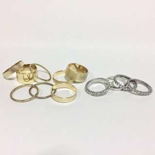 Bundle: NEW! Gold and Silver Ring Sets (H&M, F21)