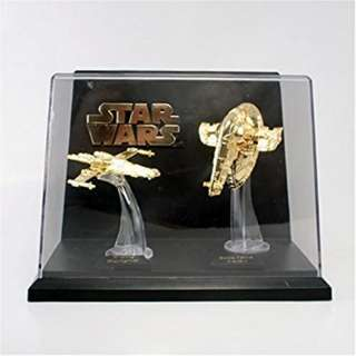 *Rare* Star Wars 1996 Micromachines Classic Series I: X-Wing & Slave 1 - 24K Gold Plated Statues