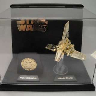 *Rare* Star Wars 1996 Micromachines Classic Series II: Imperial Shuttle & Emblem - 24K Gold Plated Statues