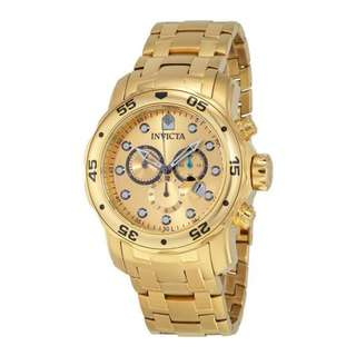 "Invicta Mens 0074 ""Pro Diver"" Mens 18k Gold-Plated Watch"