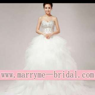 Crystal feather wedding dress