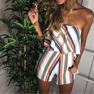 💌 Striped off shoulder playsuit 💌