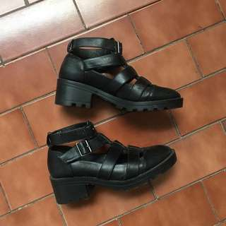 TOPSHOP Black Caged Ankle Boots