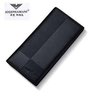 JOSEPH AMANI男款紳士真皮質感長夾皮夾 手拿錢包 鈔票 信用卡 證件皮夾 簡單大氣送禮物 皮包