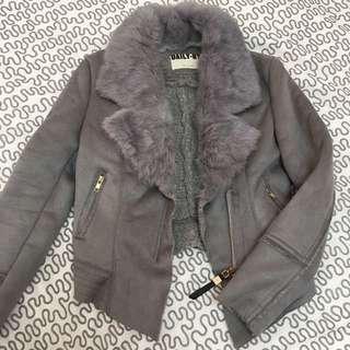 Grey Suede biker jacket