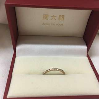 周大福18K/750玫瑰金鑽石戒指 有單👍🏻