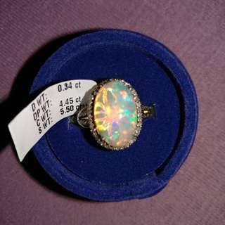 Opal 澳洲寶石 鑽石介指 925銀