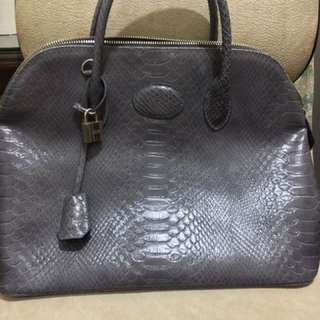 Hermes Bolide Style Snake Skin Embossed w/ Lock and key