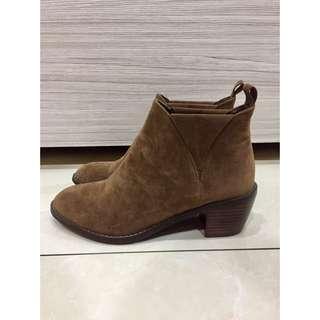[全新]麂皮低跟短靴-咖色尺寸24.5(版偏小)