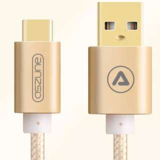 Aszune 0.25M 1/4米 金色 尼龍 Type-C Quick Charge USB Cable 充電線