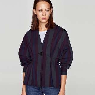 秋季新式和風設計款 收腰薄 外套 上衣女裝 褶皺 條紋 襯衫上衣