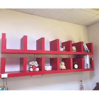 (辦公室) IKEA 紅色壁架/書櫃 二手出清價 九成新