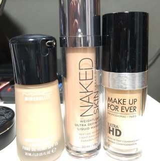 MAC, naked skin, make up forever Foundation