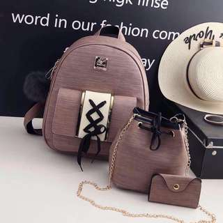 Korean cross style lace backpack 3 in 1