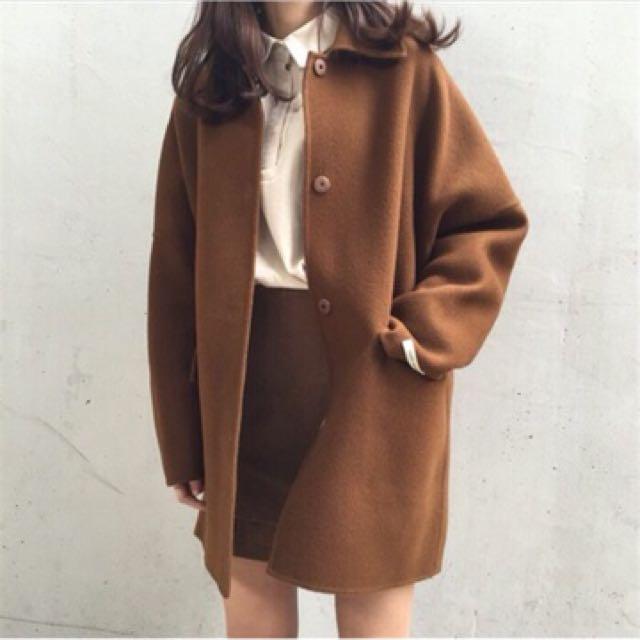 冬季新款純色長版復古毛呢大衣外套/2色