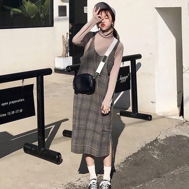 韓格紋甜美學院風吊帶連身裙/2色