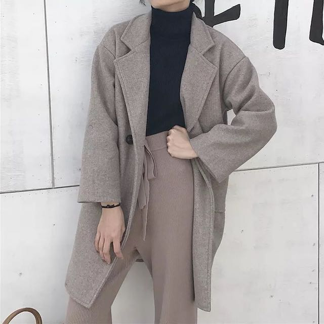 韓長版寬鬆長袖口袋加厚毛呢大衣外套/3色