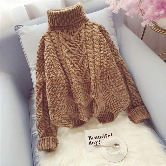 高領麻花針織上衣毛衣/4色